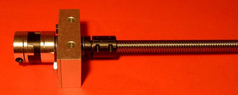 "5 Start Acme Lead Screw with 1/2"" Bearing Block and Acme Shaft Adapter, assembled"