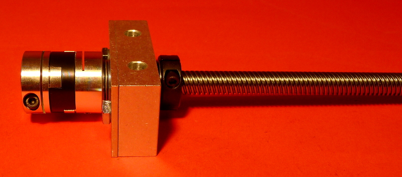"5 Start Acme Lead Screw with 1/2"" Bearing Block, direct interface, assembled"